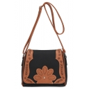 Fashion Retro Floral Patched Hollow Detail Western Crossbody Bag 20*9*18 CM
