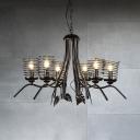 Industrial Spiral Chandelier 6 Lights Metal Chandelier Lamp for Dining Room