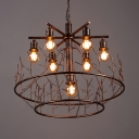 7 Lights Chandelier Lamp Industrial Metal Pendant Lamp in Copper for Dining Room