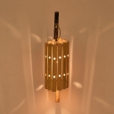 Country Style Cylinder Wall Lamp Bamboo Single Light Sconce in Wood for Restaurant, 19.5