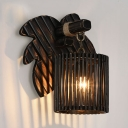 Cylinder Wall Light in Rustic Style Bamboo Hanging Wall Sconce in Black with Leaf Backplate for Hallway
