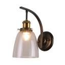 Single Light Bell Sconce Light Industrial Metal and Glass Wall Lamp for Hallway Foyer