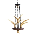Rustic Style Beige Pendant Light with Antlers and Candle Single Light Resin Ceiling Pendant for Foyer
