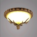 Vintage Style Domed Shape Flush Mount Light Resin and Glass 3 Lights Ceiling Fixture with Deer Decoration