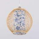 Vintage Style Lantern Shape Pendant Light Bamboo Single Light Hanging Light for Restaurant