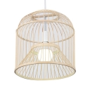 Birdcage Shape LED Pendant Lighting Living Room Bamboo Single Light Vintage Style Ceiling Lamp