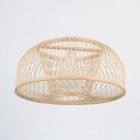 Bamboo Domed Shape Ceiling Light Single Light Antique Style Ceiling Light in Beige for Dining Room