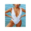 Womens Trendy Sexy Lace-Up Plunged Neck Solid Color High Leg One Piece Swimsuit