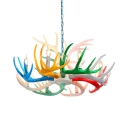 Living Room Antlers Chandelier Resin 6/8/9 Lights Antique Style Multi Color Pendant Lighting