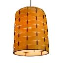Antique Style Bell Pendant Light Single Light Bamboo Ceiling Light N Beige for Dining Room Foyer