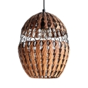 Vintage Style Brown Hanging Fixture with Oval Shade 1 Light Handmade Rattan Ceiling Light
