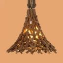Living Room Flared Ceiling Pendant Lamp Wood Country Style Brown Hanging Light Fixture