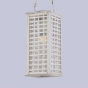 White Rectangular Pendant Light Fixture One Light Vintage Style Wood Hanging Lamp for Foyer