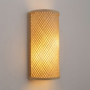 Vintage Style Cylinder Wall Lamp Single Light Rattan Sconce Wall Light in Beige for Bedroom Study