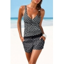 Women's New Fashion Classic Polka Dot Printed Two-Piece Tankini Swimwear