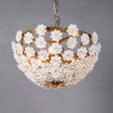Decorative Dome Shape Chandelier with Flower Metal 3 Lights Gold/Silver Pendant Lighting for Bedroom