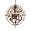 Globe Shape Pendant Light 5 Lights American Rustic Metal and Wood Chandelier Light for Dining Room