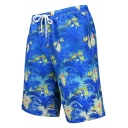 Blue Tropical Floral Bird Plants Printed Men's Drawstring Waist Swimming Trunks with Lining