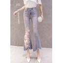 Light Blue Chic Floral Embroidery Beading Embellished Womens Fitted Flare Jeans