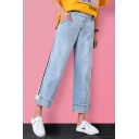 Fashion Light Blue Patched Fringed Hem Stripe Side Womens Wide-Leg Jeans