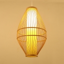 Beige Curved Ceiling Light Fixture Antique Style Bamboo Pendant Lighting for Restaurant