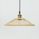 Vintage Style Saucer/Dome Shape Ceiling Light Rattan Single Light Beige Pendant Lighting for Kitchen