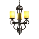 etal and Glass Cylinder Chandelier 3 Lights American Rustic Hanging Lamp for Dining Room Coffee Shop