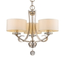 Antique Style Chandelier with White Drum Shade 3 Lights Fabric and Metal Suspension Light for Bedroom
