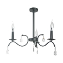 Metal Candle Shape Chandelier with Crystal Decoration Bedroom Stair Traditional Suspension Light in Black