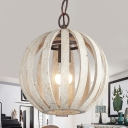Wood and Metal Globe Hanging Lamp Single Light Antique Light Hanging Lamp for Living Room