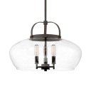 3 Lights Curved Pendant Light Vintage Clear Seeded Glass Pendant Light with Hanging Rod in Bronze