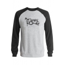 My Chemical Romance Letter Colorblock Long Sleeve Round Neck Fitted Sweatshirt