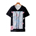 New Trendy Floral Printed V-Neck Short Sleeve Button Front Black Baseball Shirt