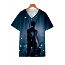 Galaxy Figure Print Short Sleeve V-Neck Button Down Casual Unisex Baseball Shirt