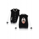 New Fashion Comic Character Print Colorblock Rib Collar Unisex Button Down Varsity Jacket Baseball Jacket