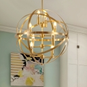 Elegant Globe Shape Chandelier Light 4/6/8 Lights Metal Hanging Lamp in Brass for Living Room Bedroom