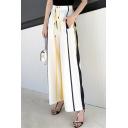 Women's Summer Tied Waist Fashion Vertical Stripe Print Chiffon Trousers Wide-Leg Pants