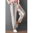 Women's Vintage Linen Vertical Stripe Printed Baggy Harem Pants