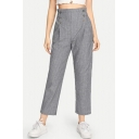 Womens Grey Stripe Printed Double Button-Fly Front Straight Fit Capri Pants