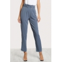 Women's Formal Style Belted Waist Solid Color Straight Fit Business Suit Pants