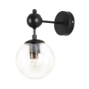 Black Globe Shape Wall Sconce Single Light Industrial Metal and Glass Wall Light for Bedroom Foyer