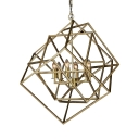 Vintage Gold Pendant Lighting with Candle and Cage Shape 6 Lights Metal Hanging Lighting for Dining Room