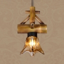American Rustic Ceiling Light Single Light Bamboo and Glass Hanging Light for Restaurant Balcony