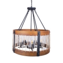 Drum Shape Pendant Lighting 5 Lights Rustic Style Metal and Wood Chandelier Light for Living Room Bedroom