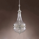 Metal and Glass Pendant Lighting 4 Lights Classic Chandelier Light for Dining Room Living Room
