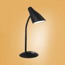 Black/White Flexible Gooseneck Desk Light Rotatable USB Charging Port and Battery Reading Light with Touch Sensor