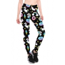 New Stylish Rainbow Unicorn Printed Black Yoga Pants Skinny Fit Leggings