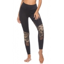 Womens New Trendy Camo Patched Mesh Panel Black Skinny Fit Yoga Leggings