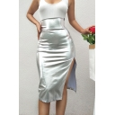 Womens Sexy Nightclub Metallic Silver High Rise High Split Side Club Midi Skirt