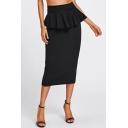 Women's Trendy Solid Color Ruffle Peplum Hem Slit Back Midi Pencil Skirt